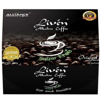 Harga Alliance Global Liven Alkaline Coffee Original Sugar Free, Box of 20