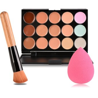 Harga 15 Colors Contour Face Cream Makeup Concealer Palette + Sponge Puff Powder Brush