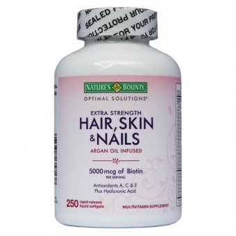 Harga Nature's Bounty Hair, Skin, and Nails Argan Oil Infused 5000 mcg Biotin Softgel Capsules, Bottle of 250