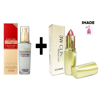 3W Clinic Collagen Make Up Base + 3W Clinic Essential Lipstick #8 Korean Cosmetics Price Philippines