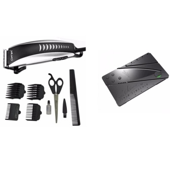 Harga Gemei 1001 Hair Clipper Trimmer 9-piece Set. Professional With Credit Card Type Folding Safety Knife