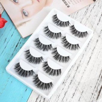 5 Pairs Fake Eye Lashes 3D Mink Handmade Long Thick False Eyelashes Makeup - intl Price Philippines