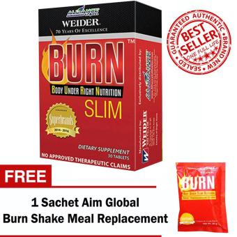 Harga Aim Global Burn Slim 30 Tablets with Free 1 Sachet Aim Global Burn Shake Meal Replacement