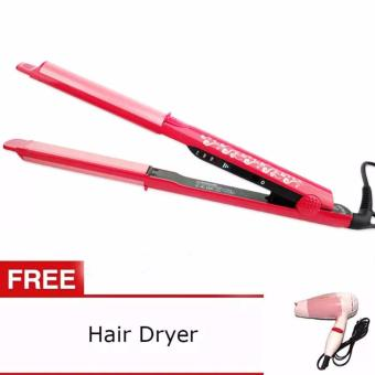 Harga NHC-822 NOVA Professional Ceramic Hair Straightener (Pink) with Free Nova Foldable Mini Travel Hair Dryer Compact Blower (Pink)