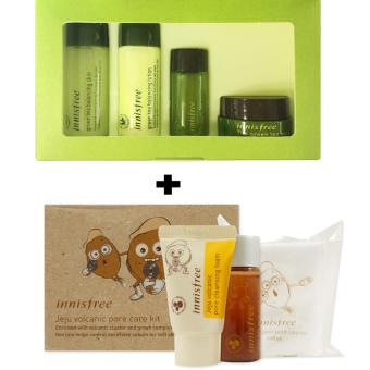Innisfree Green Tea Special Kit ( 4 Items ) With Innisfree Jeju Volcanic Pore Care Kit (3 items) Korean Cosmetics