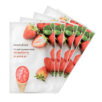 Innisfree It's Real Squeeze Mask- Strawberry 21g (Set of 5)