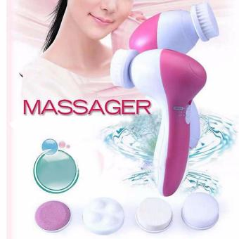 J&J 5 in 1 Electric Wash Face Machine Facial Pore Cleaner BodyCleaning Massage Mini Skin Beauty Massager Brush