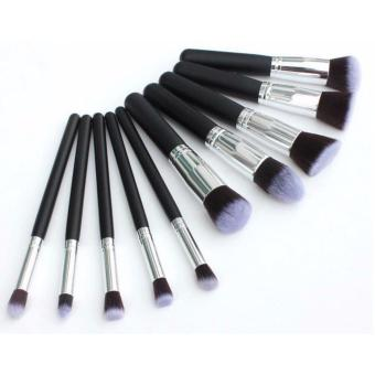 Kabuki 10 Pcs Professional Soft Make Up Brush Set (Black Silver) - 2