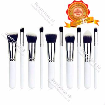 Kabuki 10 Pcs Professional Soft Make Up Brush Set (White Silver)