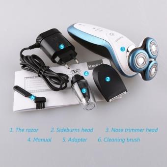 Kemei KM7000C Electric Shaver, Nose Hair Trimmer, Sideburns Razor 3Head Reciprocating Shaver for Men - intl - 4