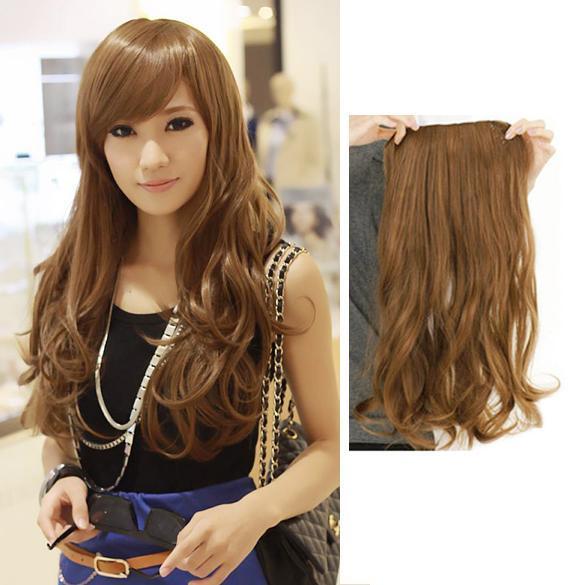 ... Lady Long Curl Wavy Clip-on Hair Extension Wig Long 55cm Width 25cm - intl ...