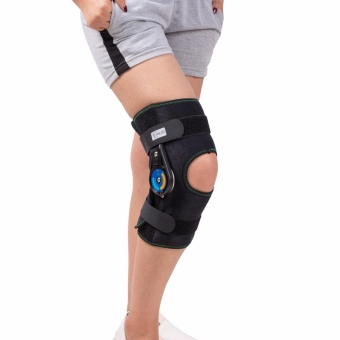 (Large)Hinged Knee Patella Brace Support Stabilizer Pad Belt Band Strap Orthosis Splint Wrap Compression Sleeve Immobilizer Guard Protector ROM(range of motion) Adjustable Medical Orthopedic Short - intl