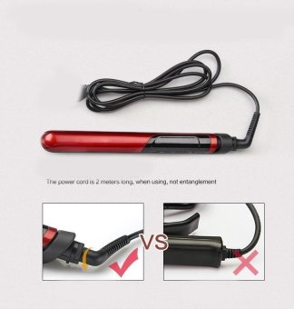 LCD Display 2-in-1 ceramic coating Hair straightener comb hair Curler beauty care Iron healthy beauty-Red - 4