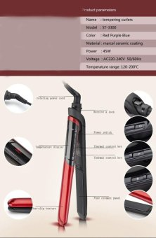 LCD Display 2-in-1 ceramic coating Hair straightener comb hair Curler beauty care Iron healthy beauty-Red - 5
