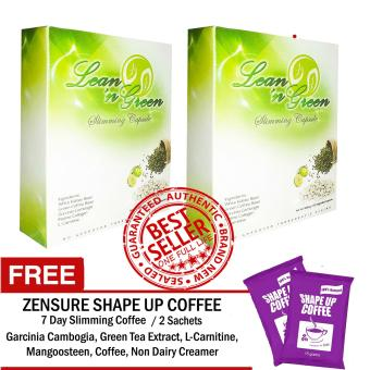 Lean n Green Slimming Capsule (2 Boxes x 30 Capsules) with FREE Shape Up Slimming Coffee 2 Sachets