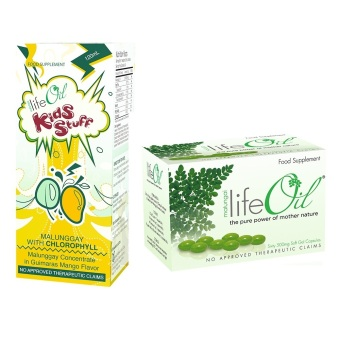 Life Oil Malungai 500mg Softgel Capsules Box of 60 with LifeOilKids Stuff Malunggay with Chlorophyll 120ml Bundle