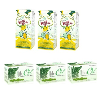 Life Oil Malunggay 500mg Softgel Capsules Box of 60 Set of 3 with LifeOil Kids Stuff Malunggay with Chlorophyll 120ml Set of 3 Bundle