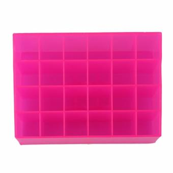Lipstick Holder Display Stand Cosmetic Organizer 24 Slots Pink