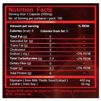 Liverguard Silymarin + Lecithin 500mg Food Supplement Box of 100 Capsules - 2