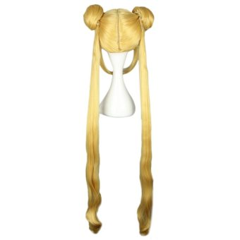 Long Yellow Women Wigs With 2 Double Bun Hair Cosplay CosplayPonytails For Sailor Moon Tsukino Usagi Figure(Color:YELLOW) - intl - 4