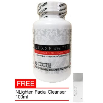 Luxxe White Enhanced Glutathione Capsules 775mg bottle of 60's with FREE Nlighten Facial Cleanser 100ml