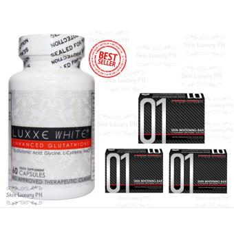 Luxxe White Glutathione Bottle of 60's with 3 Frontrow 01 soaps