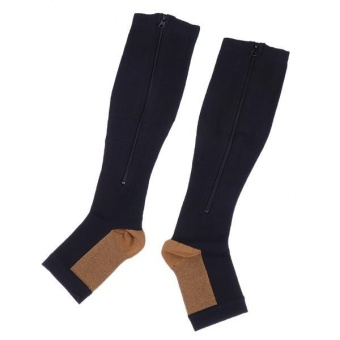 MagiDeal Pair Copper Compression Socks Leg Support Open ToeStockings S M Black - intl Price Philippines