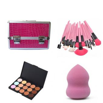 Make-Up Artist (Make Up Box Rose Red&24 Pcs Brush Pink&15 concealer Palette&Blender Sponge) set of 4