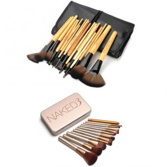 Make-Up For You 24pcs Brush (Black/Yellow) with Naked 12 pcsProfessional 3 Power Makeup Brushes