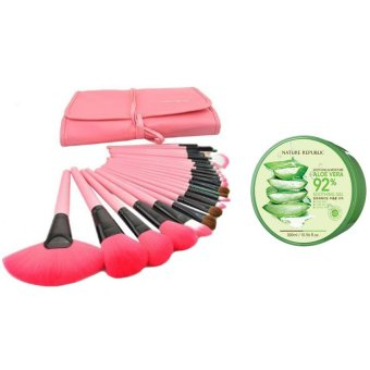 Make-Up For You Professional 24-piece Set (Pink) with NatureRepublic Soothing and Moisturizing Aloe Vera 92 Soothing Gel 300ml
