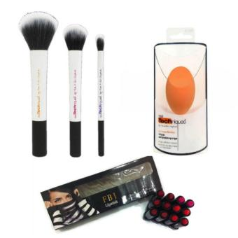 Makeup Bundle (Real Technique Makeup Sponge + Duo Fiber CollectionMakeup Brush Set + 12 Pcs. Long Lasting Waterproof Lipstick) 310g Price Philippines