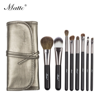 Matto 8pcs Goat Hair Makeup Brushes Set Cosmetics Beauty Professional Make Up Tools With Leather Bag (Black) - intl