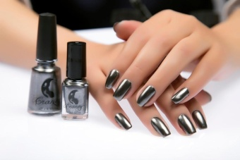 Mirror Nail Polish Plating Silver Paste Metal Color Stainless SteelBlack - intl