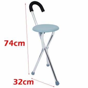 MK All new High quality Stainless steel Light weight Adult FoldingTripod Cane Portable Walking Stick With Seat BLUE