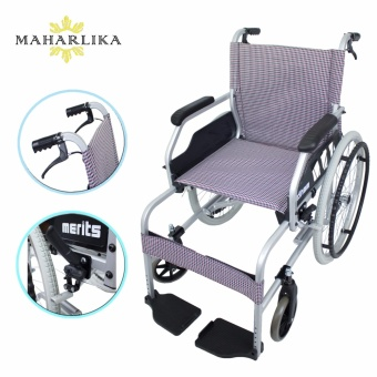 MK High Quality Foldable Aluminum Portable Wheelchair (Checkered)