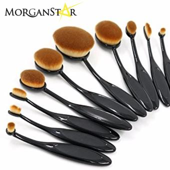 MorganStar 10 Pieces Professional Oval Make-Up Brush Set (Black)