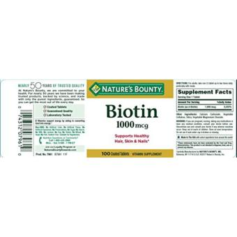 Nature's Bounty Biotin 1000 mcg Support Healthy Hair, Skin &Nails (100 Tablets) Price Philippines