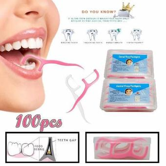 New 100 Pcs 2 in 1 Dental Floss Interdental ToothPicks