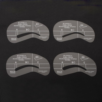 New 4 Styles Eyebrow Grooming Stencil Template Make Up Shaping Shaper Kit Tools