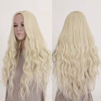 New Long Hair Curly Wavy Full Wig Cosplay Costume Blonde Hair - intl