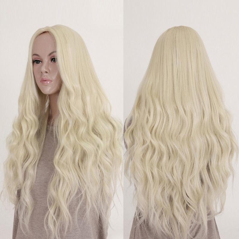 O-New Women Long Hair Curly Wavy Full Wig Cosplay Costume Blonde Hair 65CM