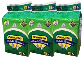 New Pharmaline Adult Diapers Large 10' Pack of 3