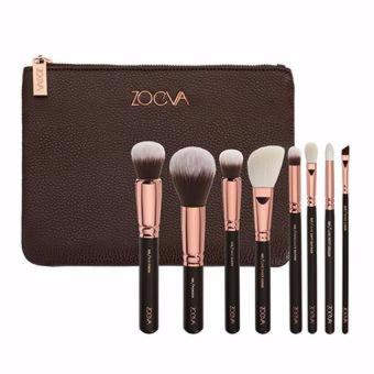 New Zoeva 8 - Pcs Professional Makeup Brush Set With Cosmetics Pouch (Rose Gold)
