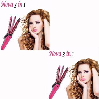 NHC-8890 3in1 NOVA Professional Electric Hair Curler RollerStraightener Waver Crimp Irons Women Styling Tool Hair CurlingRound Brush 220V 360? Rotating Power Cord (Pink) Set Of 2