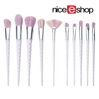 niceEshop New Unicorn Thread Professsional 10pcs Makeup CosmeticBrushes Set With Colorful Rainbow Hair And White Delicate DiamondShape Handle
