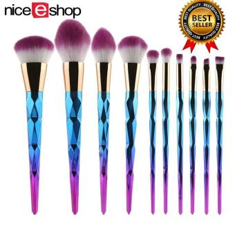 niceEshop Unicorn Thread Professsional 10pcs Makeup CosmeticBrushes Set With Colorful Rainbow Delicate Diamond Shape Handle(Purple)
