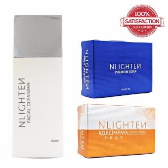 Nlighten Acne Solution Set (Nlighten Kojic Soap, Nlighten PremiumSoap, Nlighten Facial Cleanser)