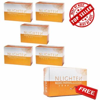 Nlighten Kojic Papaya Soap with Glutathione Set of 5 with FREE 1(Whitening Soap)