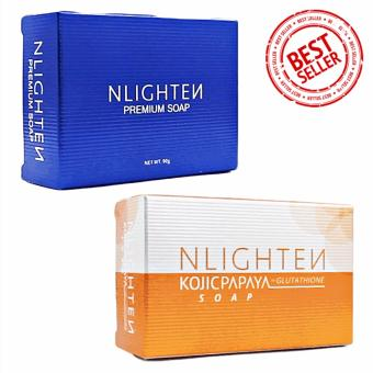Nlighten Soap Combo (Nlighten Kojic Papaya Soap with Glutathione,Nlighten Premium Soap with arbutin Oil, Aloe Vera and Collagen)