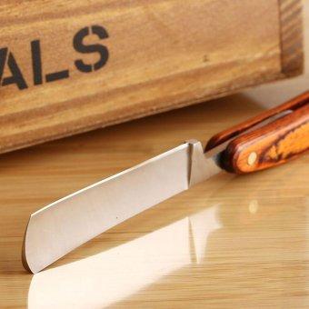 oanda Wood Handle Stainless Steel Barber Shaving StraightRazor-with Case - intl - 2